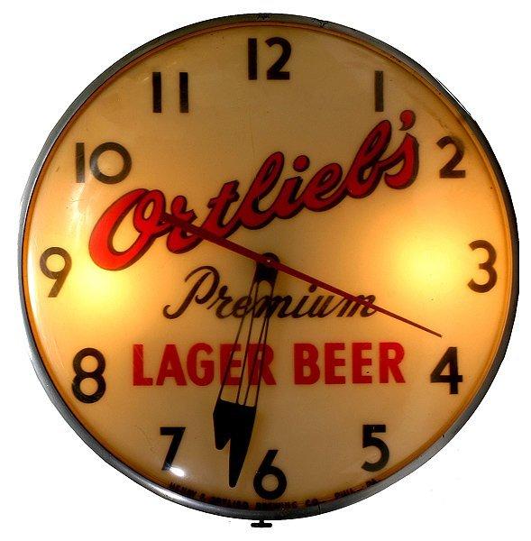 """1504: """"Ortliebs""""  Light up Clock"""