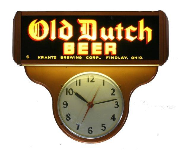 "1511: ""Old DutchBeer"" Lighted Sign w/ Clock"