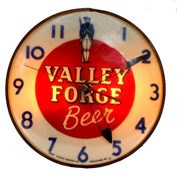 """1516: """"Valley Forge Beer"""" Light up Clock"""