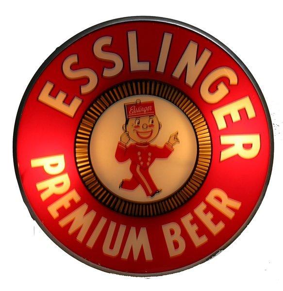 """1536: """"Esslinger Beer"""" Lighted Spinner Sign"""