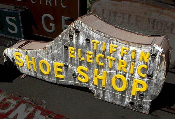 "1628: ""Tiffin Shoe Shop"" Figural Porcelain Neon Sign"