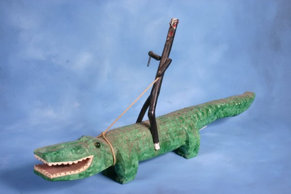 "23: JR Lewis ""Alligator"". Carved and painted wood. 31 3"