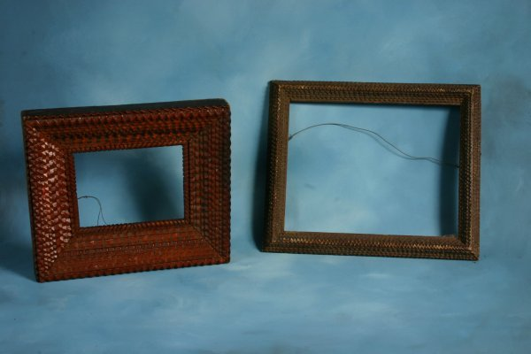 82: Unknown. Two tramp art frames. Carved wood. Approx