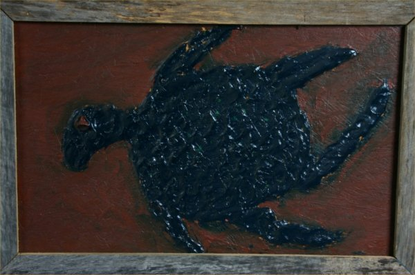 "92: Clyde Jones ""Turtle"" Mixed media on plywood. 24 x 3"