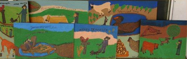 98: Hazel Kinney-Untitled-. Lot of 10. Paint on paper.