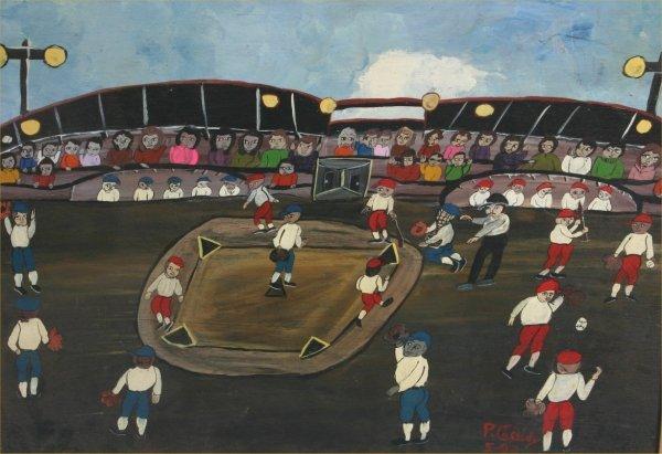 """100: Paul Cassidy """"The Home Run"""". Paint on wood. 22 x 2"""