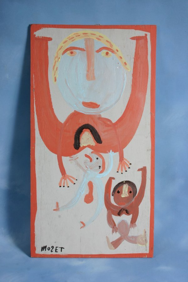 102: Mose T-Untitled-. Paint on wood. 16 x 30 Provenan