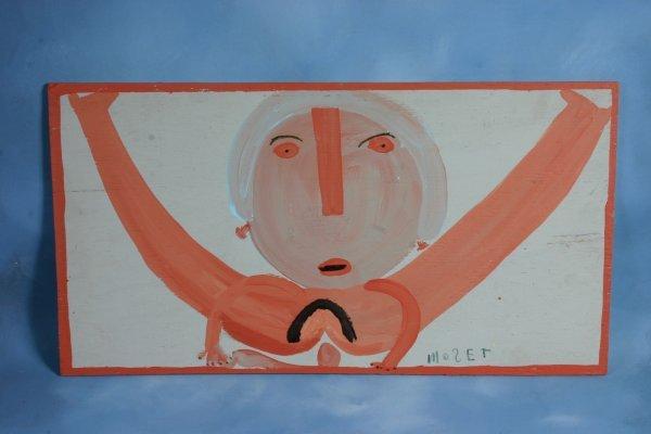 103: Mose T-Untitled-. Paint on wood. Outsider art