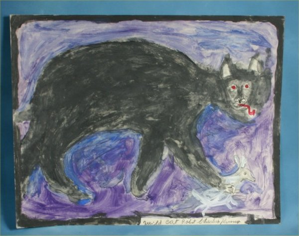 """117: Charlie Kinney """"Wild Cat"""" Paint on poster. 22 x 28"""