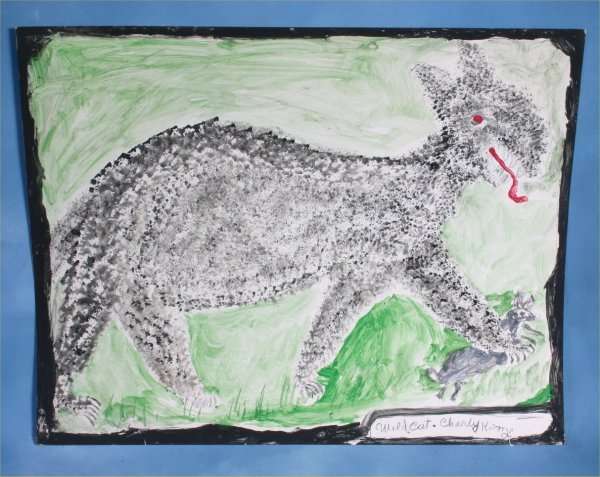 """118: Charlie Kinney """"Wild Cat"""" Paint on poster. 22 x 28"""