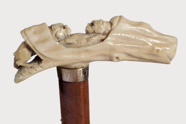 4. Carved Hippo Ivory Dogs-A Late 19th Century carving