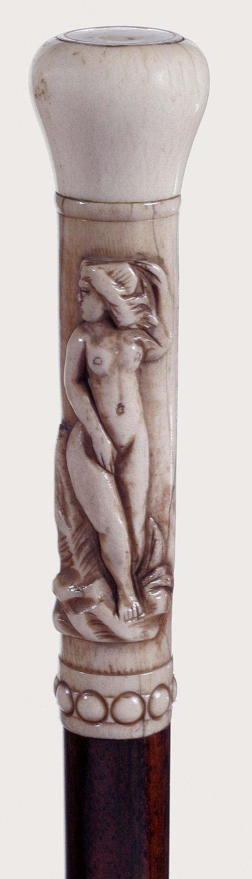 5. Ivory Nude-An Art Nouveau period Cane, exotic wood s