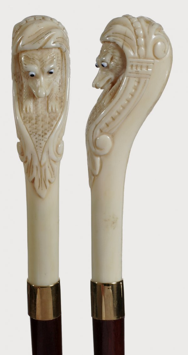 11. Carved Ivory Fox-Circa 1880-Protruding two-color gl