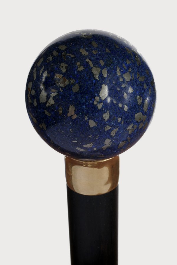 14. Large Lapis Knob-Early 20th Century-Fluted gold col