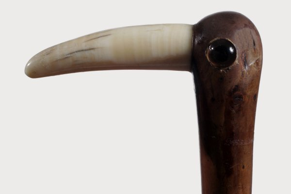 19. Bird-Circa 1880-Large two colored glass eyes, twig