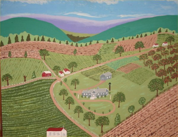 "1: James T Rexrode-Outsider Art-""Farm Scene"". Paint on"