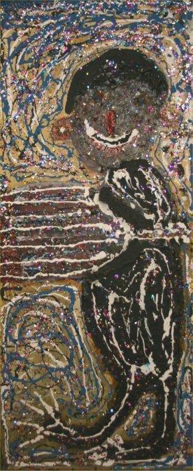 """Clyde Jones-Outsider Art-""""Untitled"""".  1997. Paint An"""
