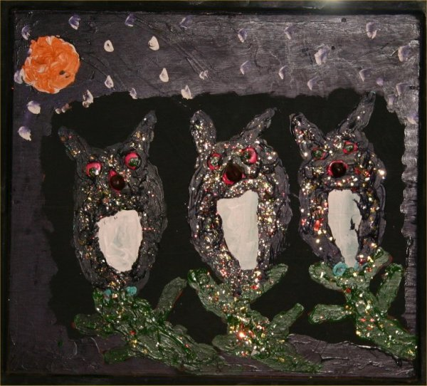 "6: Clyde Jones-Outsider Art-""Hoot Owls"". Paint and mixe"