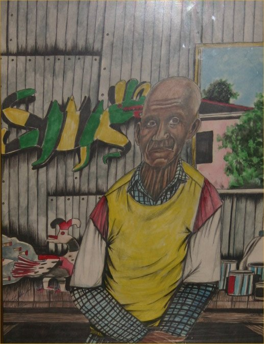 "7: Roy Ferdinand-Outsider Art-""David Butler"". Marker an"