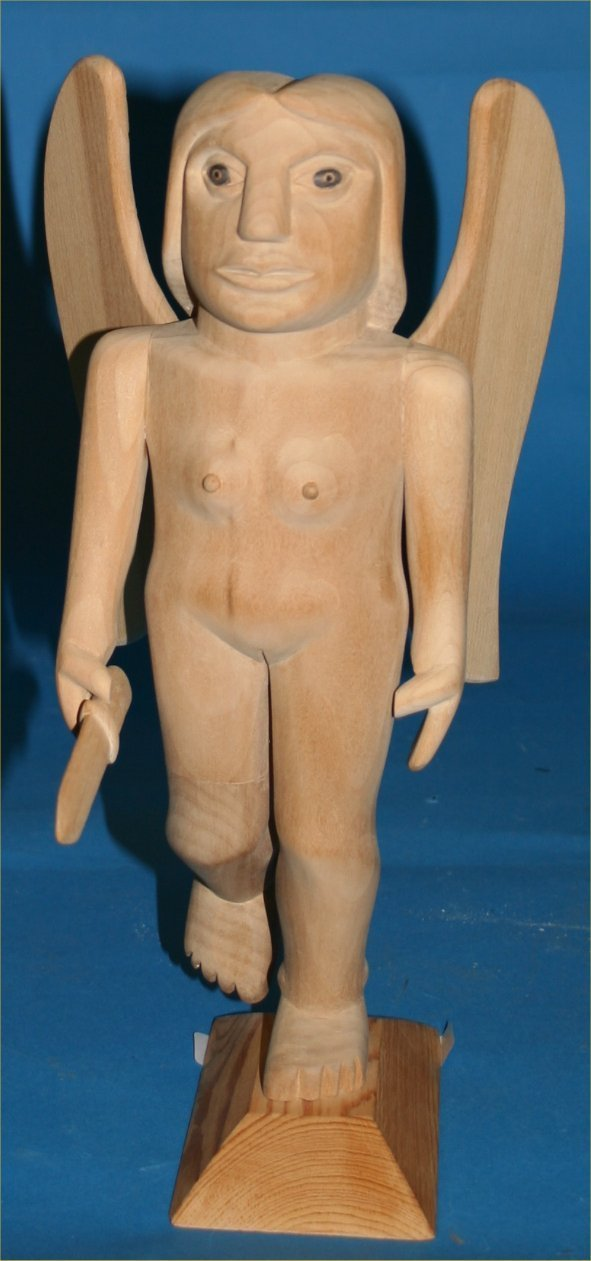 "9: Donny Tolson-Outsider Art-""Fat Angel"" Carved wood"
