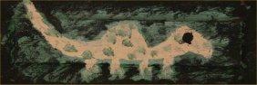 "Clyde Jones-Outsider Art-""Lizard""-1990. Paint On Wo"