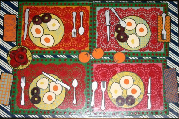 "12: Margaret Wenstrup-Outsider Art-""Breakfast"" Enamel o"