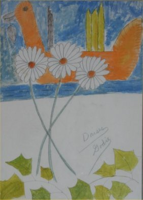 "Lee Godie-Outsider Art-""Daisys"" Paint And Pencil On"