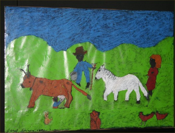 "15: Hazel Kinney-Outsider Art-""Farmers"". Paint on poste"
