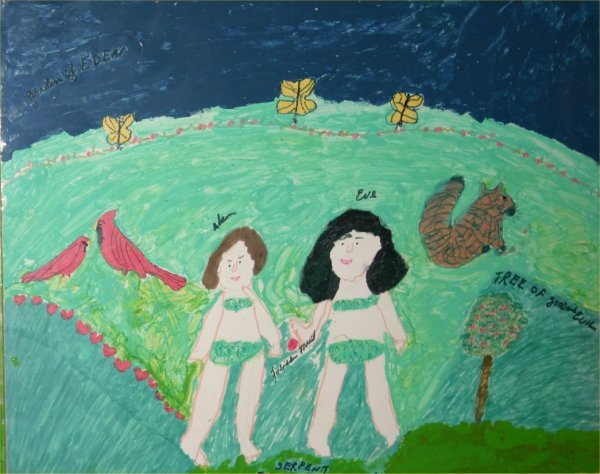 "16: Hazel Kinney-Outsider Art-""Garden on Eden"". Paint o"