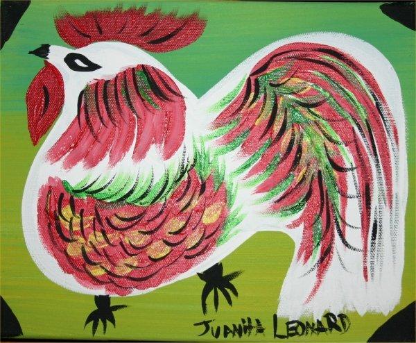 "27: Juanita Leonard-Outsider Art-""Rooster"" Paint on can"