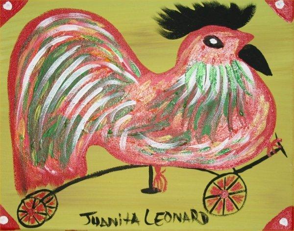 "28: Juanita Leonard-Outsider Art-""Rooster"" Paint on can"