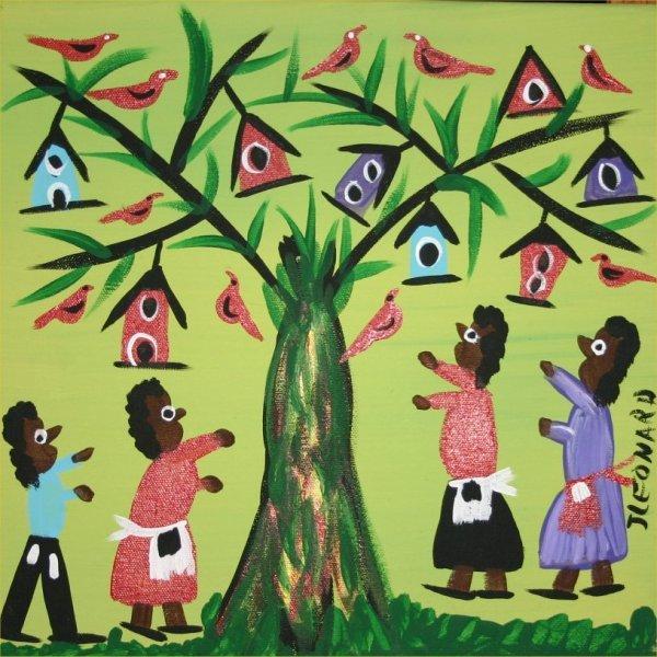 """29: Juanita Leonard-Outsider Art-""""Bird Tree"""" Paint on c"""