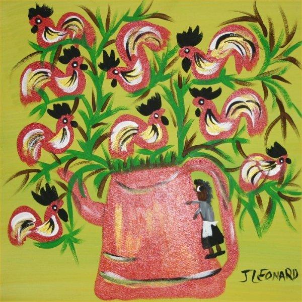 "30: Juanita Leonard-Outsider Art-""Rooster"" Paint on can"