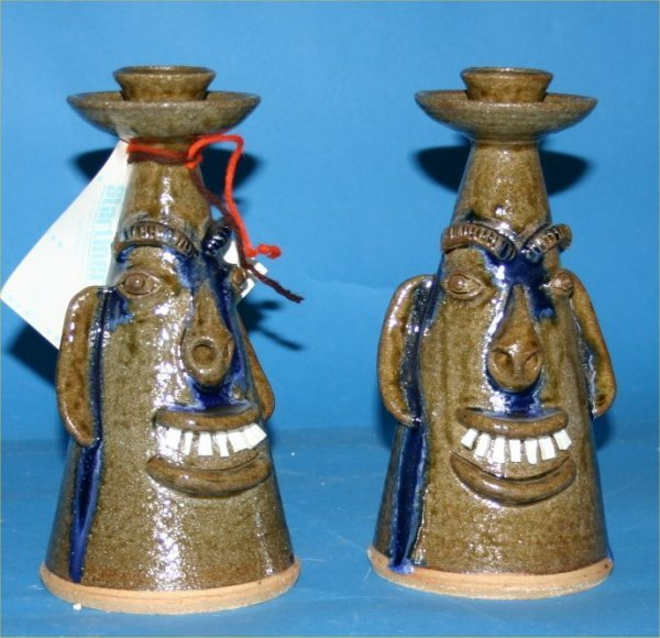 """32: A.V. Smith-Outsider Art-""""Untitled"""" Pair of fired an"""