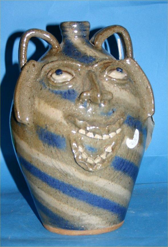 "33: Steve Abee-Outsider Art-""Face Jug"" Fired and glazed"