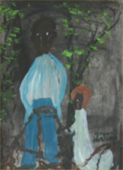 "36: Alyne Harris-Outsider Art-""Untitled"" Paint on pape"