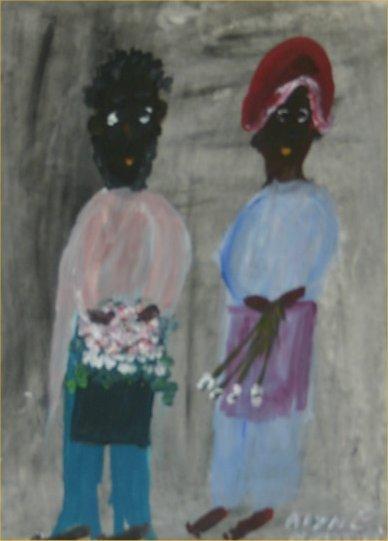 "37: Alyne Harris-Outsider Art-""Untitled"" Paint on pape"