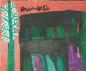 """Willie White-Outsider Art-""""Landscape"""" Marker On Pap"""