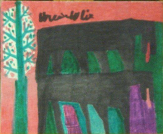 """38: Willie White-Outsider Art-""""Landscape"""" Marker on pap"""