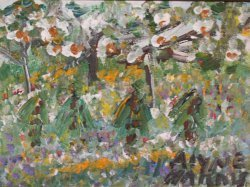 "39: Alyne Harris-Outsider Art-""Landscape"" Paint on can"