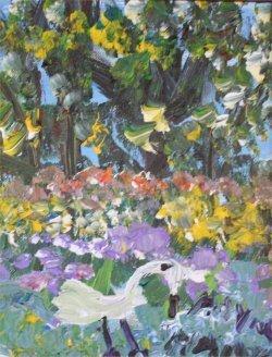 "40: Alyne Harris-Outsider Art-""Egret"" Acrylic on canva"