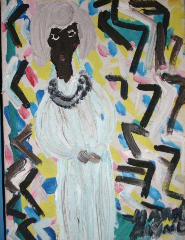 "41: Alyne Harris-Outsider Art-""Portrait of a Woman""-Ac"
