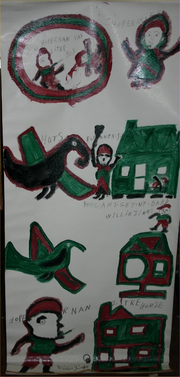 """43: Willie Jinks-Outsider Art-""""You can't get NY Baby"""" P"""