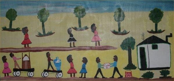"44: Juanita Leonard-Outsider Art-""Untitled""-Paint on pa"