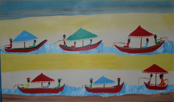 "45: Juanita Leonard-Outsider Art-""Boats"" Paint on panel"