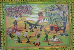 """46: Theresa Gloster-Outsider Art-""""Untitled"""" 1999 paint"""