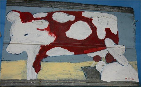 """47:  LEONARD Jones-Outsider Art-""""Cow""""-Paint on tin"""