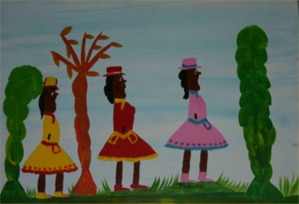 "48: Juanita Leonard-Outsider Art-""Untitled""-Paint on bo"