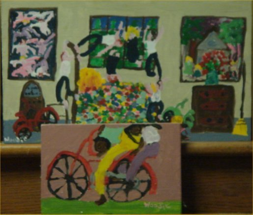 """75: Woodie-Outsider Art-""""Untitled"""" 2pc lot,paint on woo"""