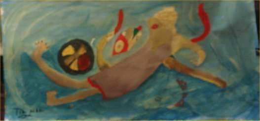 """76: TinMan-Outsider Art-""""She Fell Down"""" Paint on paper"""